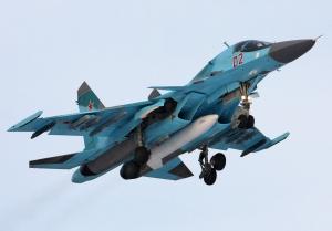 Sukhoi Su-34 (Russian Сухой Су-34) (export Su-32, NATO Fullback) Russian twin-seat fighter-bomber India China Iran Syria